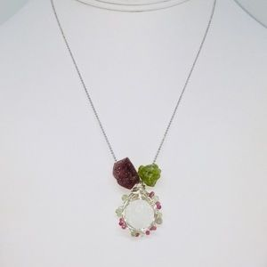 In The Rough Sterling Gemstone Necklace
